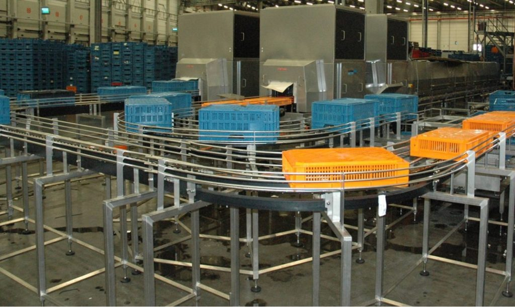 Cretel material handling in the field crate conveying